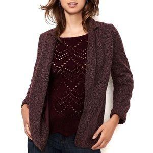 LC LAUREN CONRAD burgundy knit blazer jacket